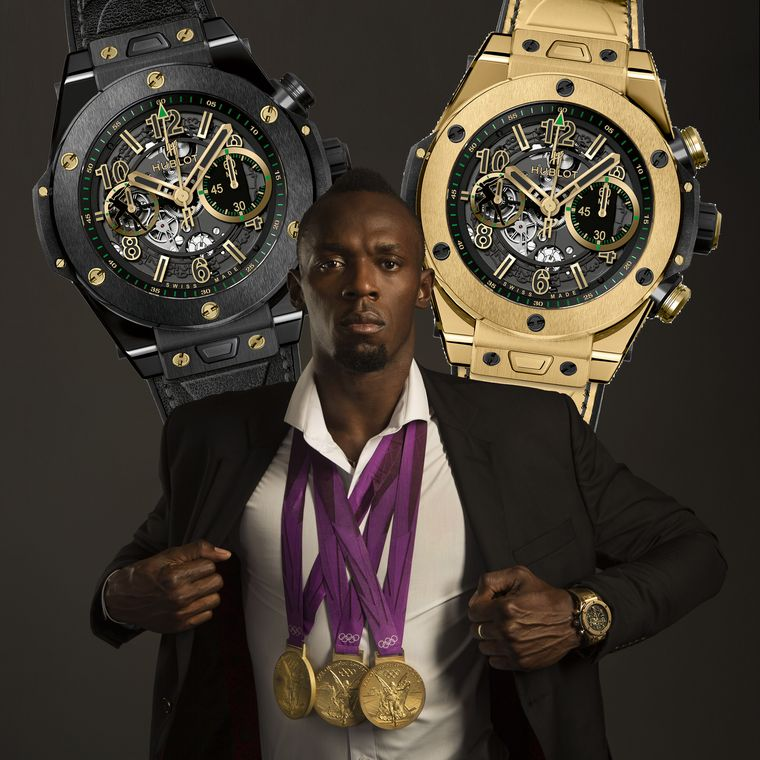 Usain Bolt Shows The Hublot Big Bang Chronograph 45mm Watch in Olympic