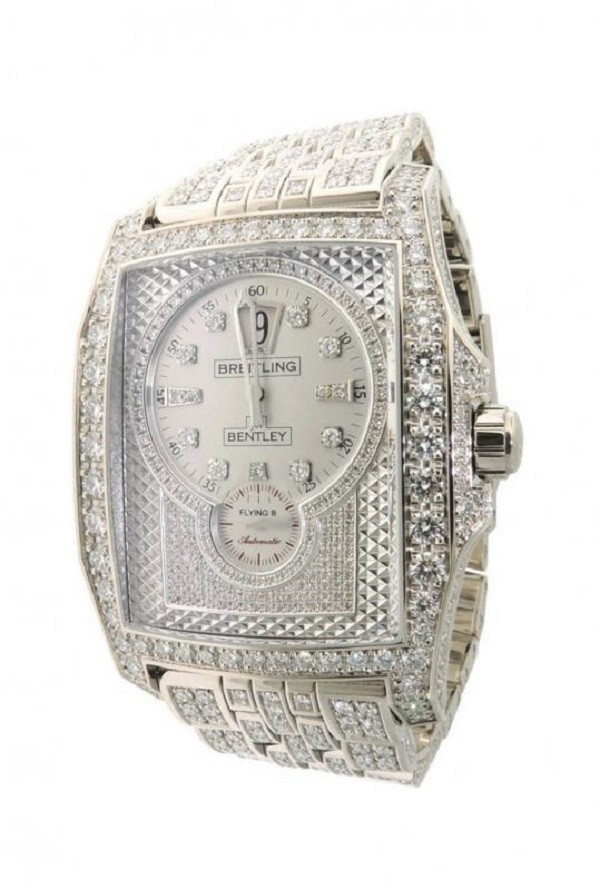 2. Breitling Bentley Flying B J28362 Diamond White Gold Automatic Watch