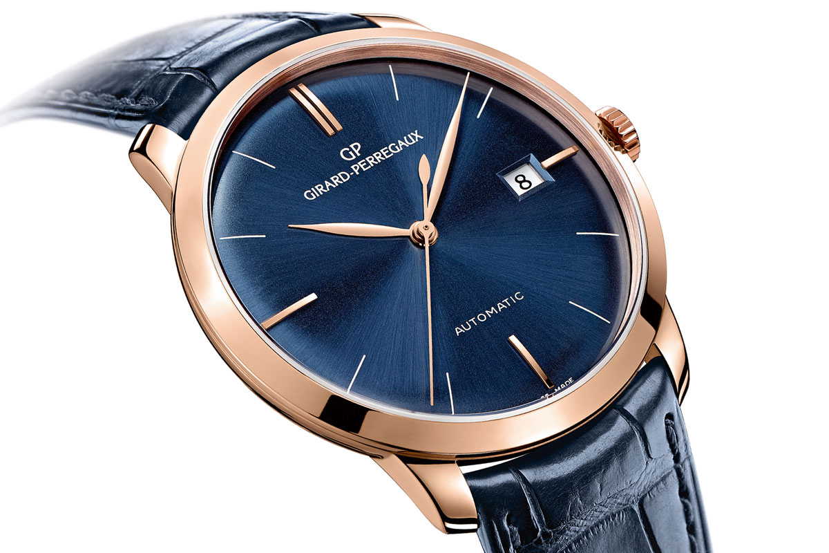 Two blue watches from girard perregaux 39 s flagship collections swiss classic watches for Girard perregaux