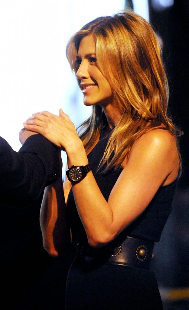 Jennifer aniston with rolex black out milgauss swiss classic watches for Celebrity wearing rolex watches