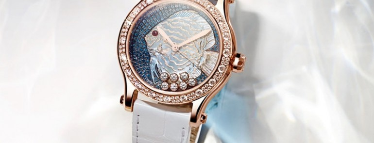 The limited edition Chopard Happy Fish Métiers d'Art watch with wonderful design
