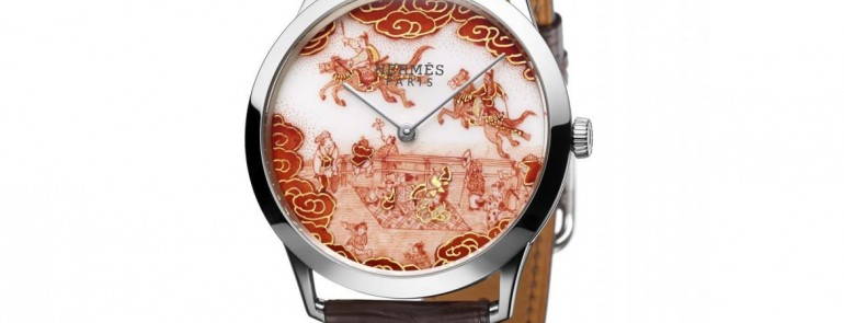 Hermès Slim Koma Kurabé Watch combined with the Japanese art