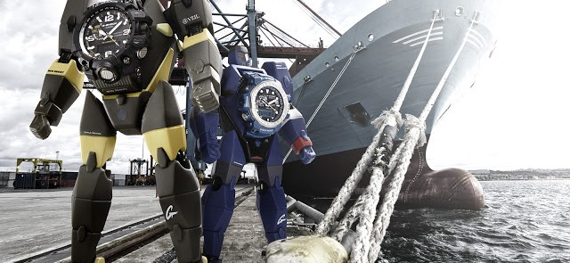 Focus on the Master of G special edition G-Shock watches accomanied by a robot figurine