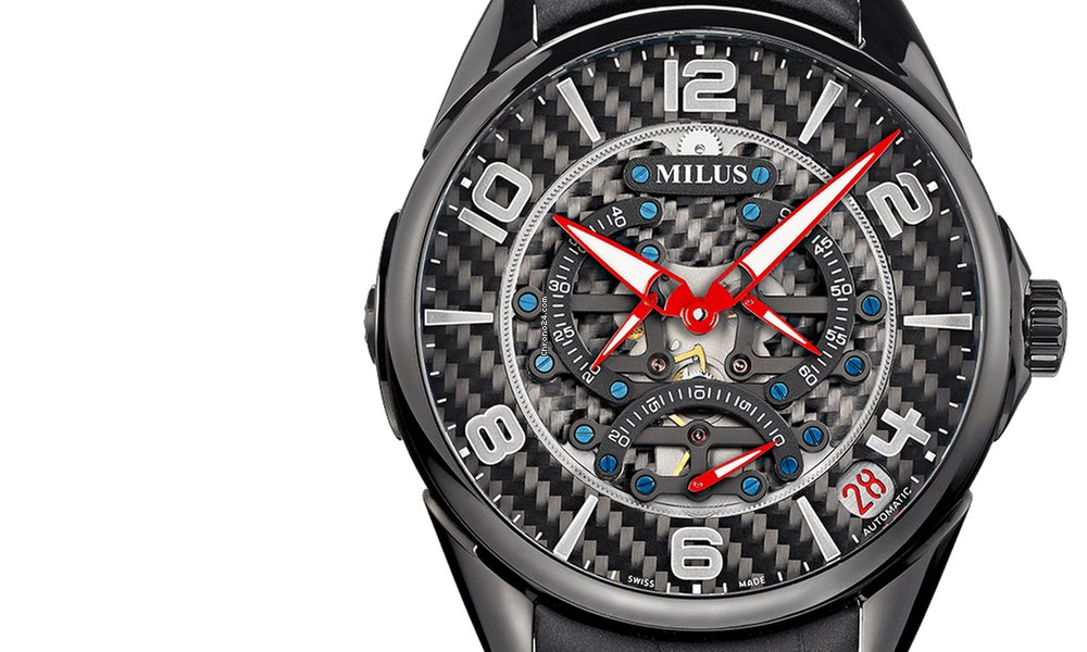 Review Baselworld 2015: Milus TriRetrograde TIRI200 faceted skeleton hours by red coloured