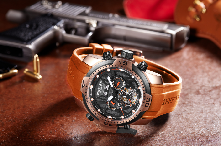 Presenting The New Aurora Transformer Serise With 46mm Rose Gold Case Fitted With Orange Rubber Strap