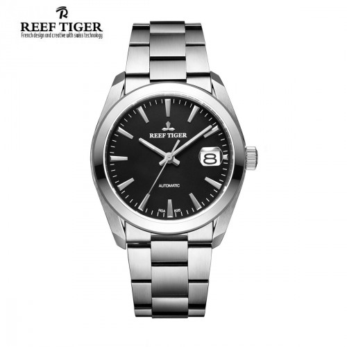 Reef Tiger Classic Perpetual II Date Automatic Black Dial Steel Case Mens Watch
